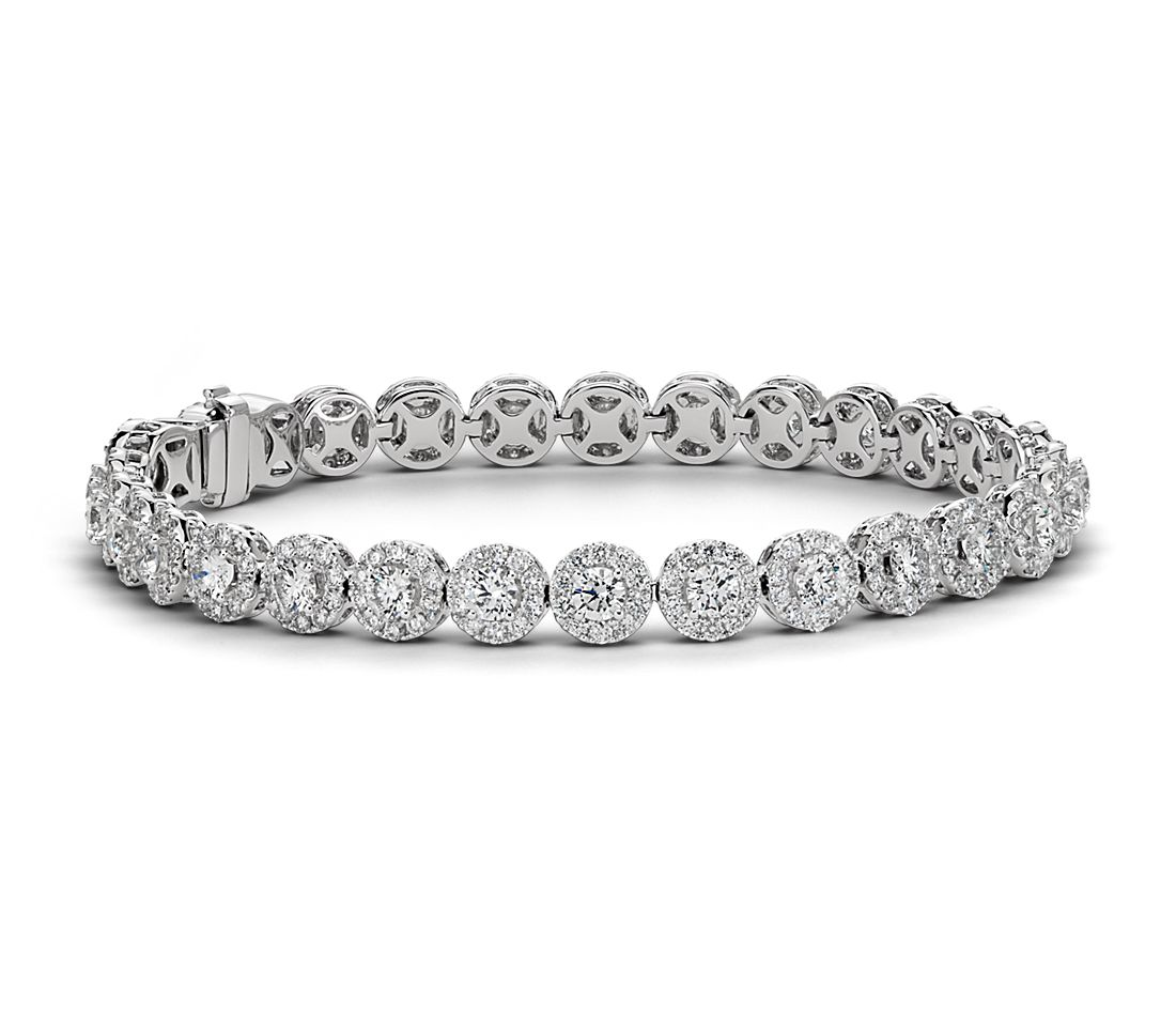 Diamond Halo Bracelet in 18k White Gold (8 ct. tw.)