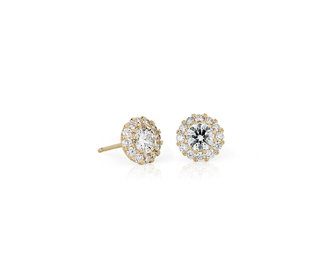 yellow diamond halo earrings - photo #28