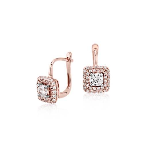 Boucles d'Oreilles Diamant Halo en or rose 14carats (3/5carats, poids total)