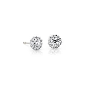 NEW Diamond Halo Earrings in 14k White Gold (1 ct. tw.)