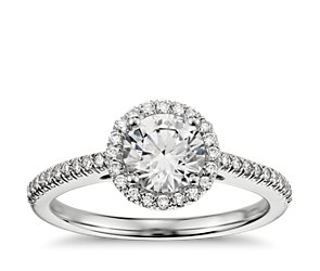 Classic Halo Diamond Engagement Ring in 14k White Gold