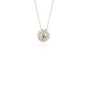 NOUVEAU Pendentif diamant halo en or jaune 14carats
