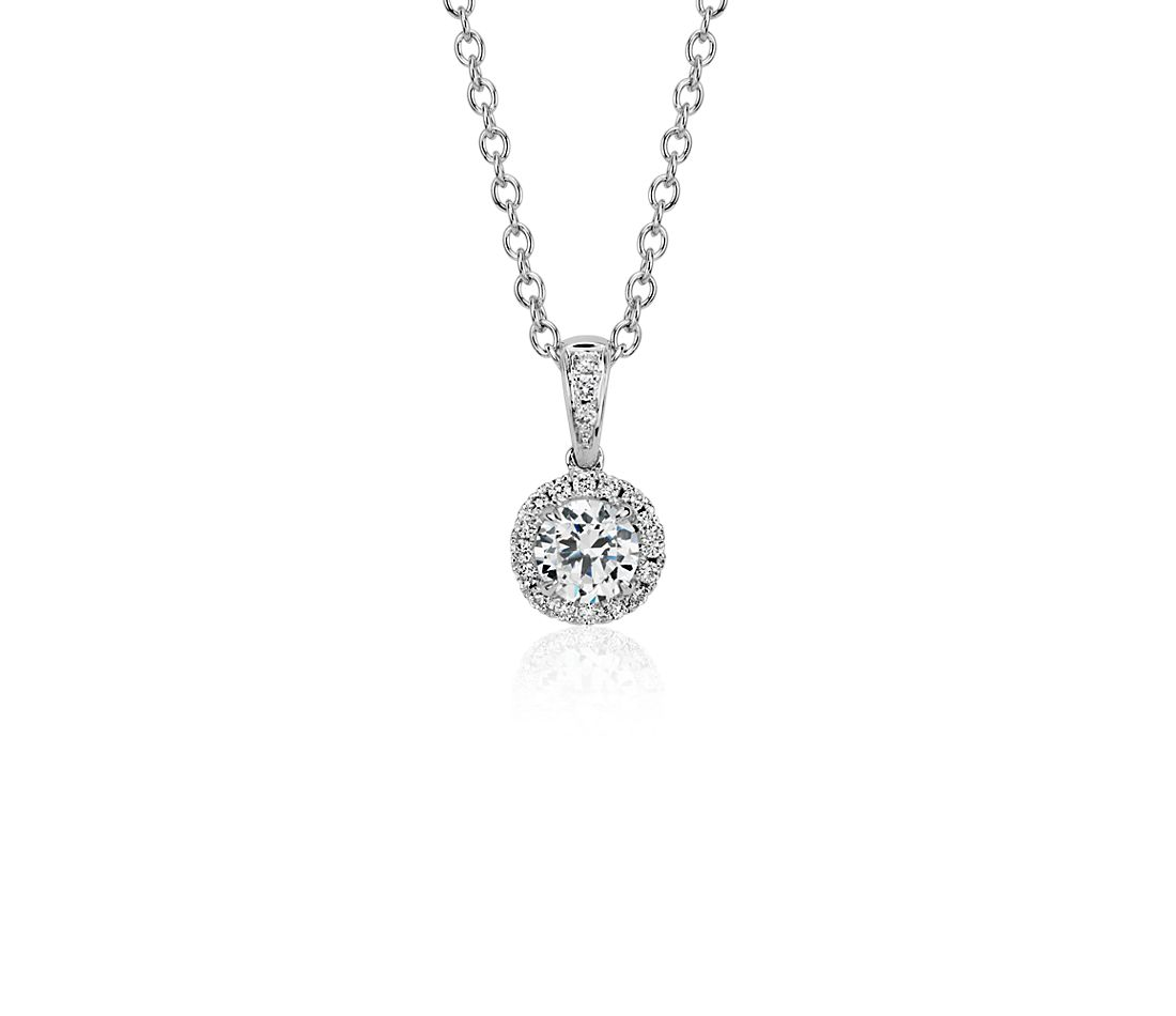 Sertissure de pendentif halo de diamants en or blanc 14 carats