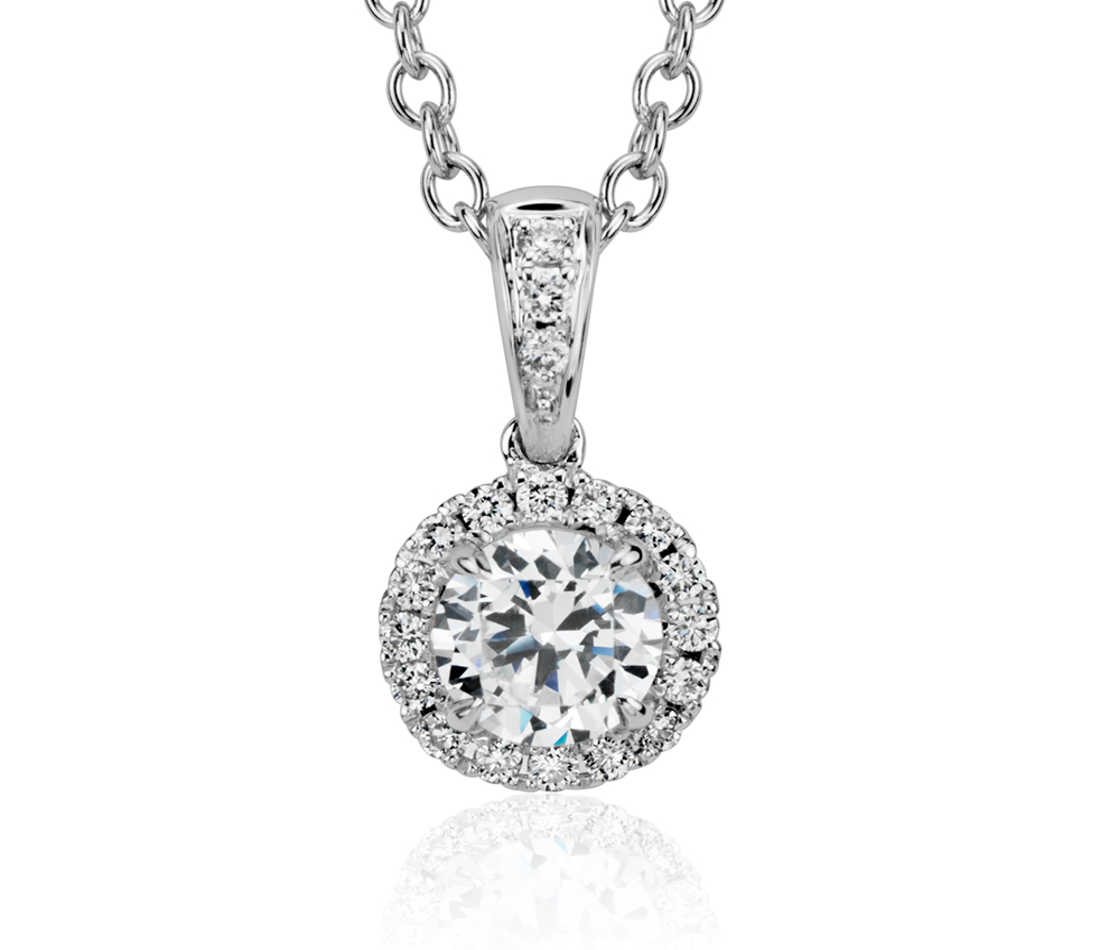 Montura para colgante con halo de diamantes en oro blanco de 14k