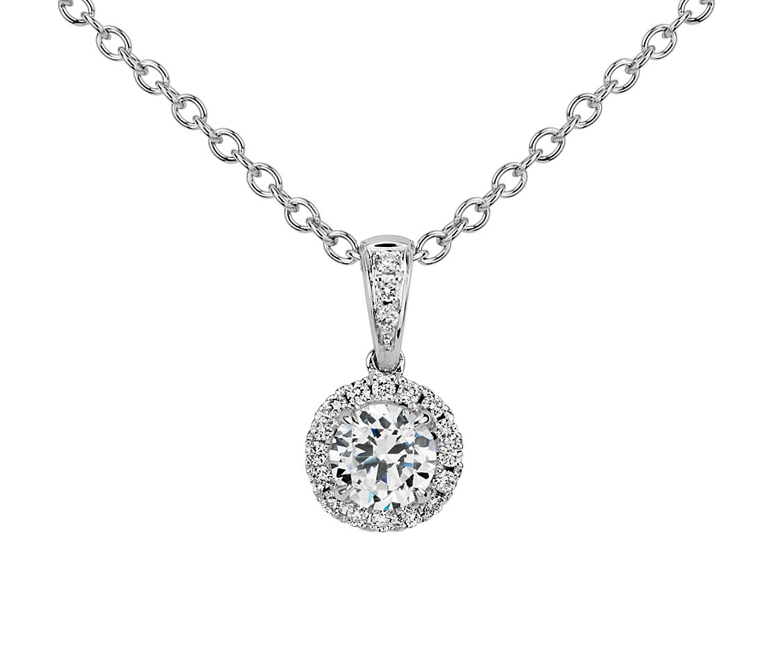 Halo Diamond Pendant Setting in Platinum