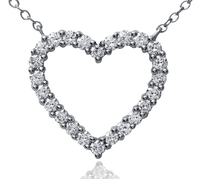 Pendentif diamant cœur en platine (1carat, poids total)