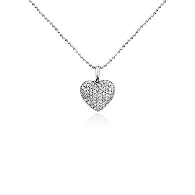 Diamond Heart Pendant in 14k White Gold (1/4 ct. tw.)