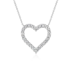 NEW Diamond Heart Pendant in 14k White Gold (1 ct. tw.)