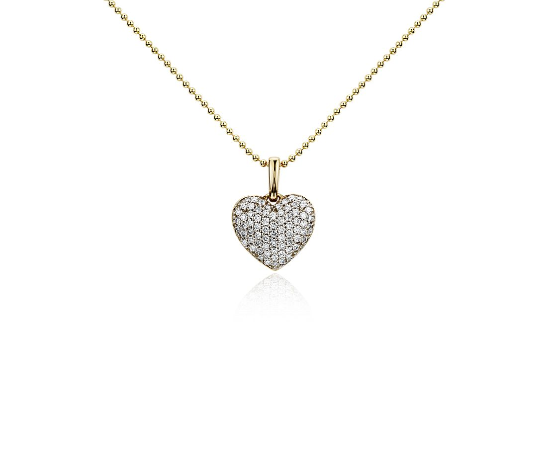 Heart Diamond Pendant in 14k Yellow Gold