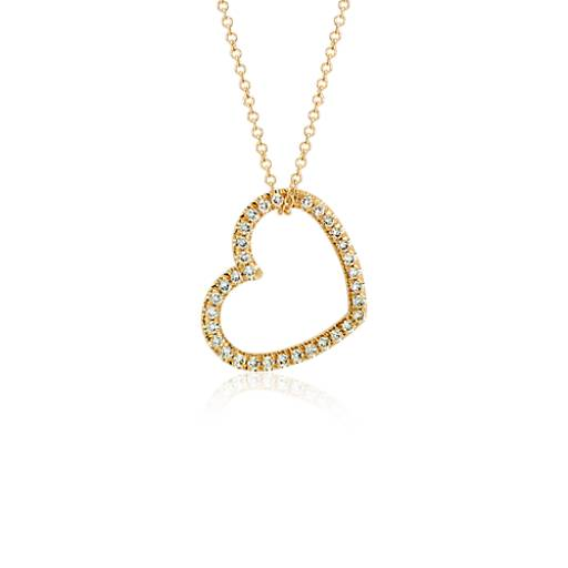 Heart Diamond Pendant in 18k Yellow Gold