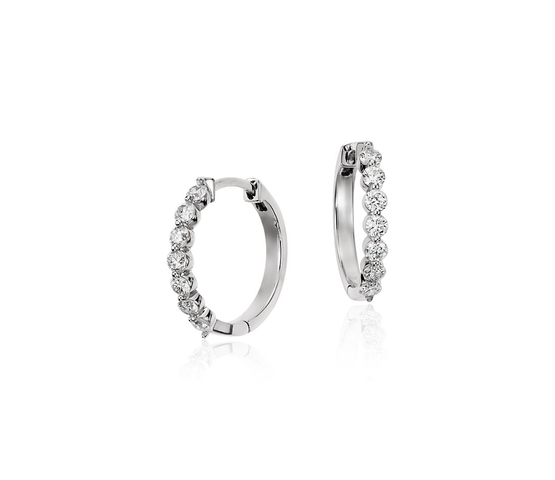 Diamond Hoop Earrings in 18k White Gold - F / VS2 (1/2 ct. tw.)