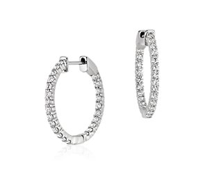 Diamond Hoop Earrings in 18k White Gold - H / VS2 (1 ct. tw.)