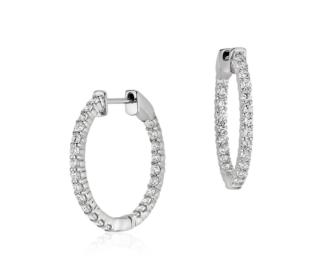 Diamond Hoop Earrings in 18k White Gold (1 ct. tw.)