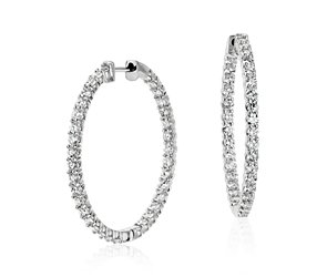 Diamond Hoop Earrings in 18k White Gold (3 ct. tw.)