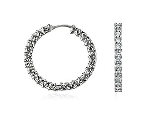 Claw-Set Hoop Diamond Earrings in 18k White Gold (2 1/4 ct. tw.)