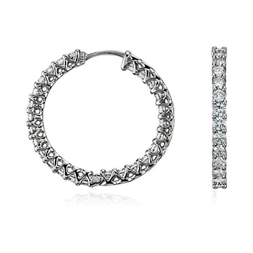 Prong-Set Hoop Diamond Earrings in 18k White Gold (2 1/4 ct. tw.)