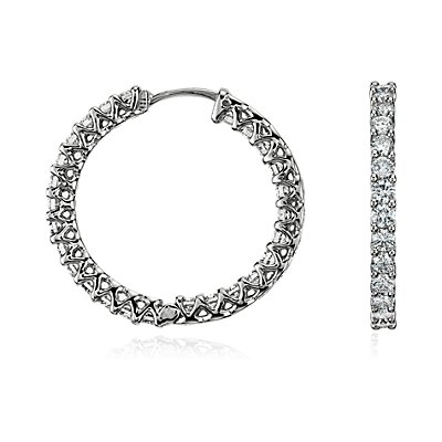 Diamond Eternity Hoop Earrings in 18k White Gold (2 1/4 ct. tw.)