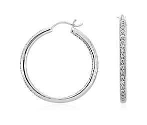 Pavé Hoop Diamond Earrings in 18k White Gold (1 ct. tw.)
