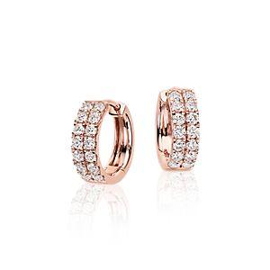 Petites créoles diamant en or rose 14carats (3/4carat, poids total)
