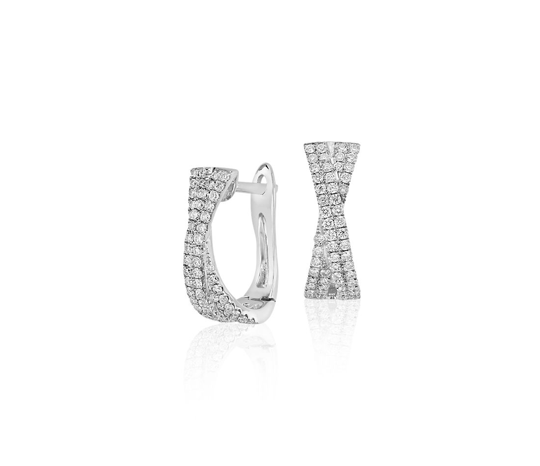 Criss-Cross Diamond Hoop Earrings in 14k White Gold (1/2 ct. tw.)