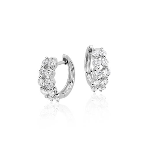 NEW Two Row Diamond Hoop Earrings in 14k White Gold (1 ct. tw)