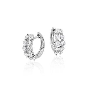 Two Row Diamond Hoop Earrings in 14k White Gold (1 ct. tw)