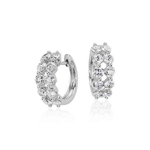 NEW Two Row Diamond Hoop Earrings in 14k White Gold (2 ct. tw)