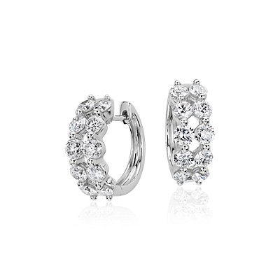 Two Row Diamond Hoop Earrings in 14k White Gold (2 ct. tw)