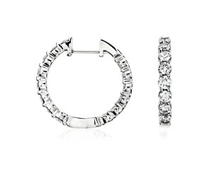 Diamond Hoop Earrings in 14k White Gold (2 ct. tw.)