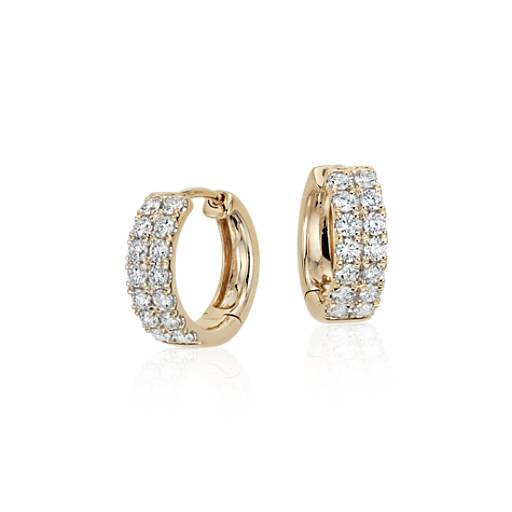Petite Diamond Hoop Earrings in 14k Yellow Gold