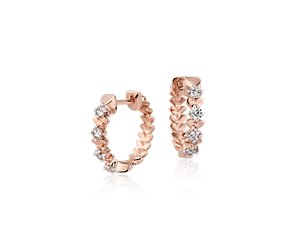 Blue Nile Studio Rose Petal Small Diamond Hoop in 18k Rose Gold