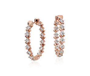 Blue Nile Studio Rose Petal Large Diamond Hoop in 18k Rose Gold