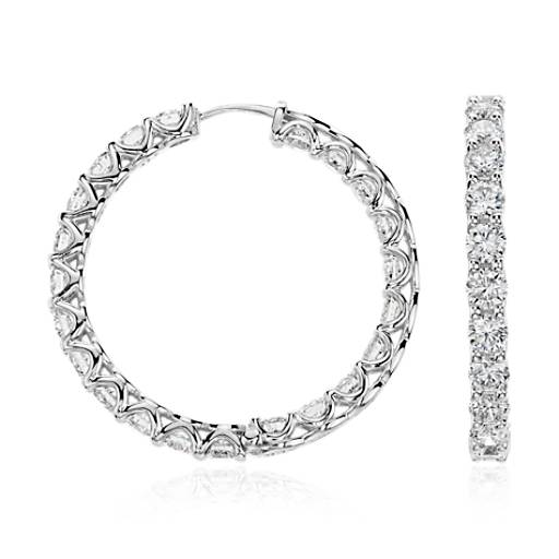 Diamond Hoop Earrings in 18k White Gold (8 ct. tw.)