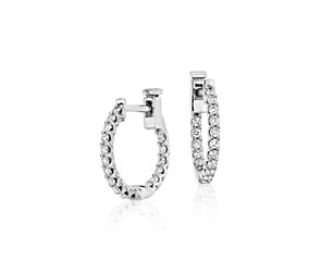 Diamond Hoop Earrings in 18k White Gold (1/2 ct. tw.)