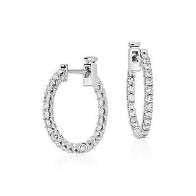 18k 白金经典钻石环形耳环(3/4 克拉总重量)