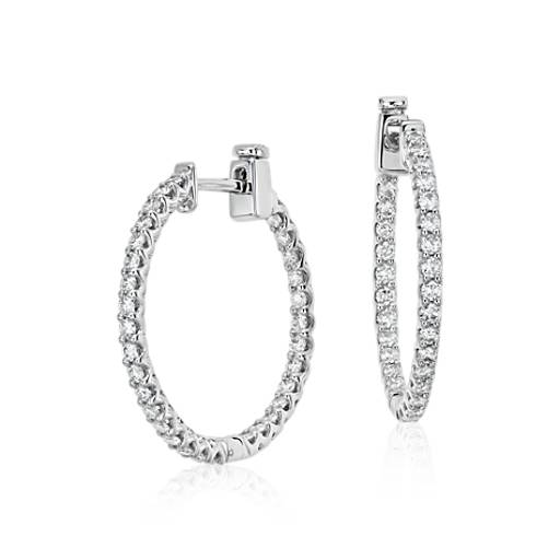 Classic Diamond Hoop Earrings in 18k White Gold (1 ct. tw.)