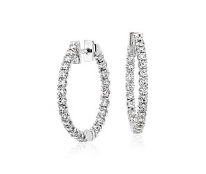 Diamond Hoop Earrings in 18k White Gold - F / VS2 (1 ct. tw.)