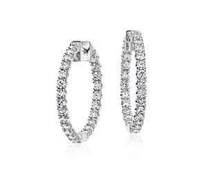 Diamond Hoop Earrings in 18k White Gold - F / VS2 (2 ct. tw.)
