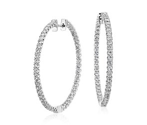Diamond Hoop Earrings in 18k White Gold - F / VS2  (3 ct. tw.)