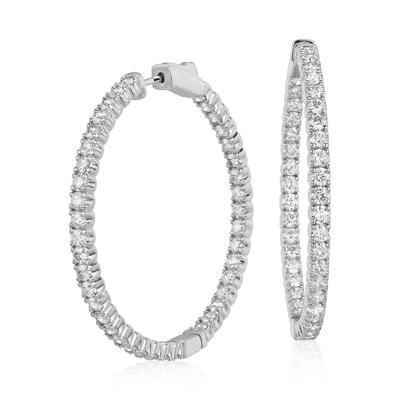 Aretes tipo argolla de diamantes de oro blanco de 18k, F/VS2 de (4 qt. total)