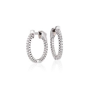 NEW Diamond Hoop Earrings in 18k White Gold - F / VS2