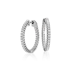 NEW Diamond Hoop Earrings in 18k White Gold - F / VS2 (1 ct. tw.)
