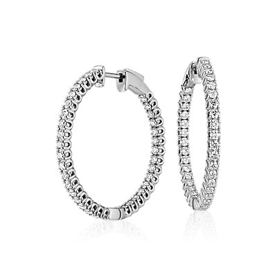 NEW Diamond Hoop Earrings in 18k White Gold - F / VS2 (2 ct. tw.)