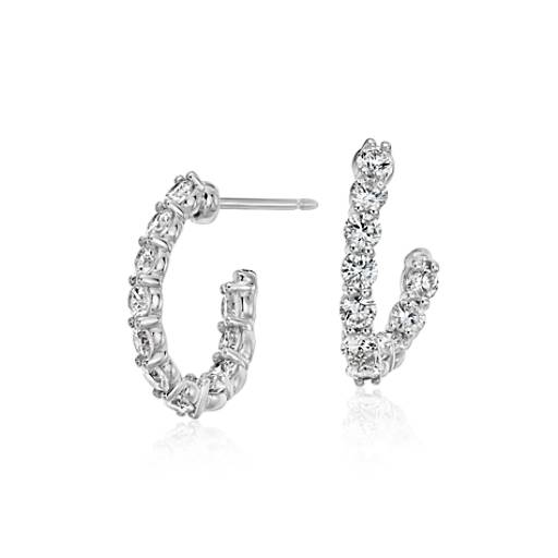 Diamond J Hoop Earrings with Hidden Ruby Gemstone in 18k White Gold (2 ct. tw.)