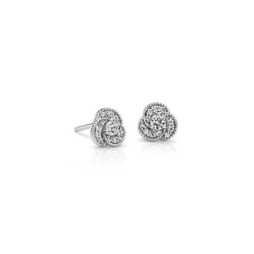 Mini Diamond Knot Earrings in 14k White Gold (1/4 ct. tw.)