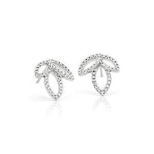 新款 18k 白金 Monique Lhuillier 钻石叶子耳环(0.29 克拉总重量)