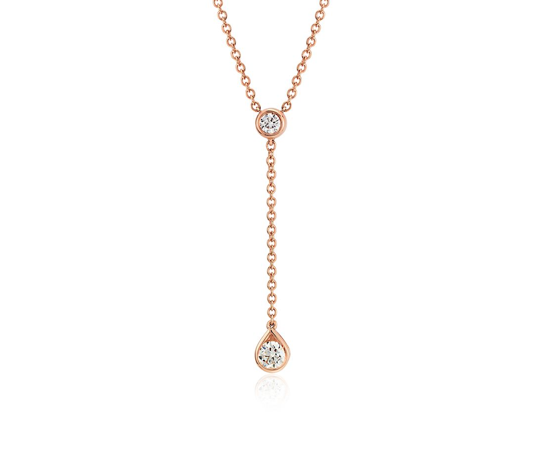 Diamond Drop Pendant in 14k Rose Gold (1/4ct tw)