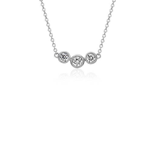 Three-Stone Diamond Bezel Necklace in 14k White Gold