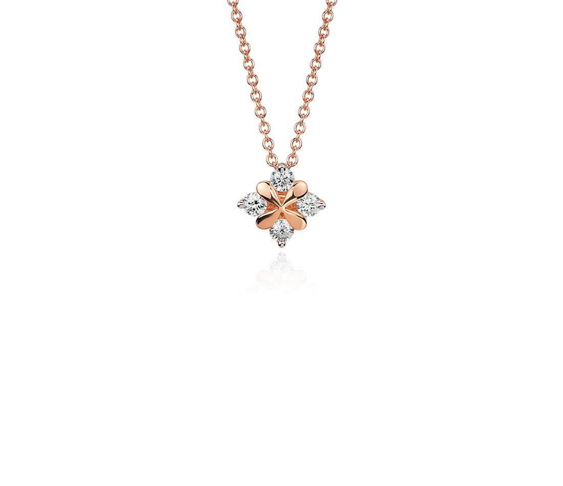 Blue Nile Studio Rose Petal Diamond Pendant in 18k Rose Gold