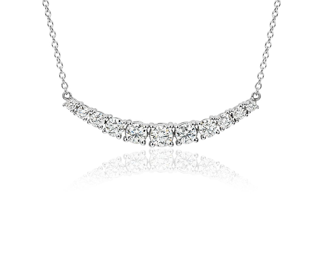 curved diamond necklace in 18k white gold f vs2 140